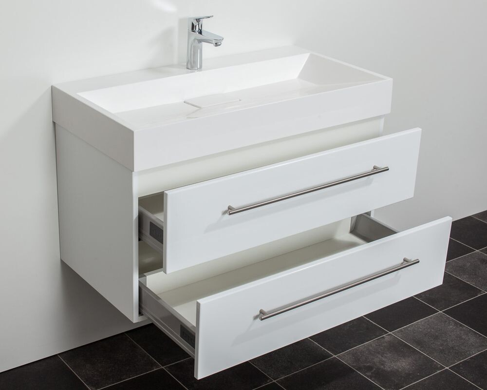 Saniclear design wastafelmeubel cm hoogglans wit bs