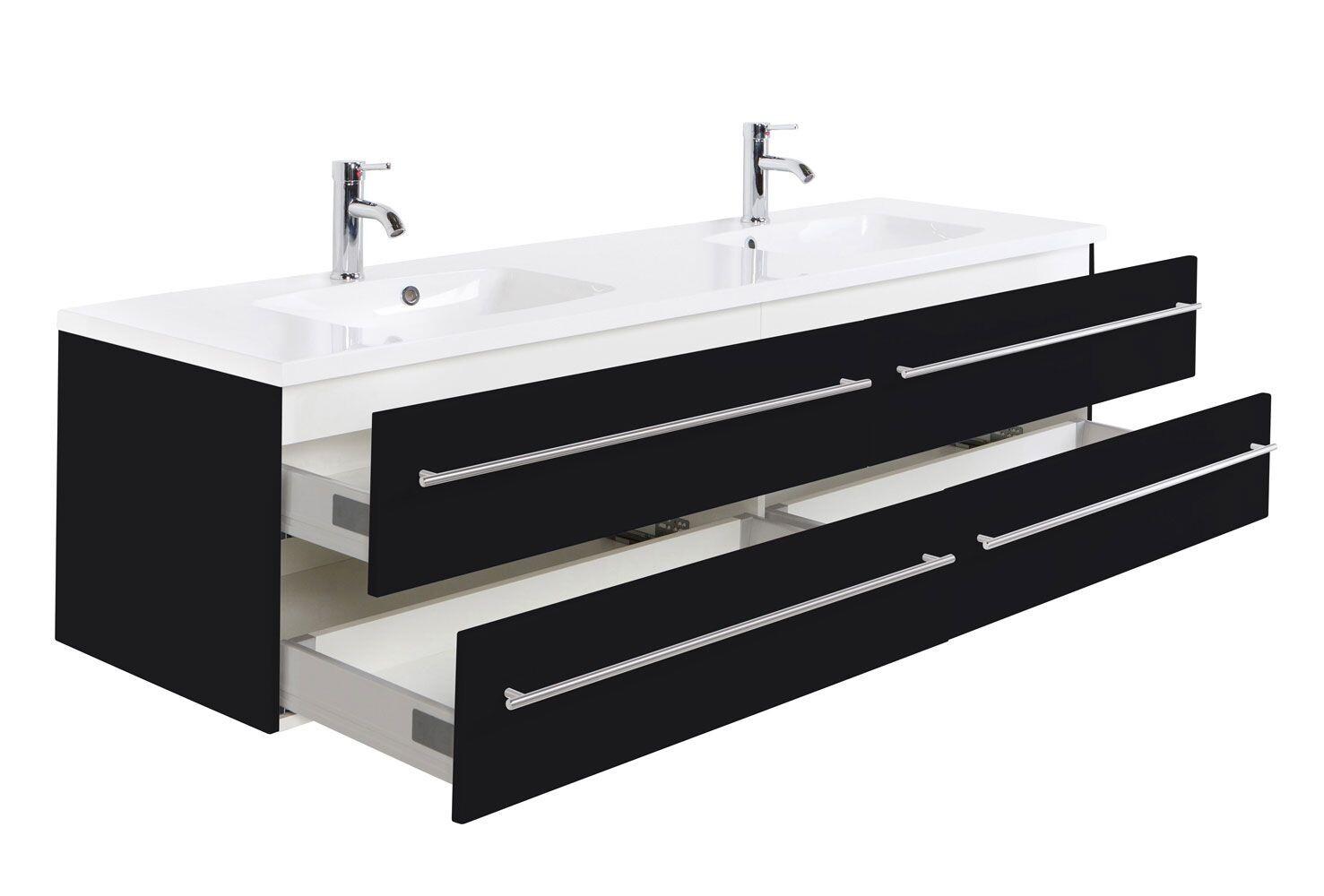 Badkamerkast Zwart Wit : Saniclear colossos badmeubel cm zijdeglans zwart bs