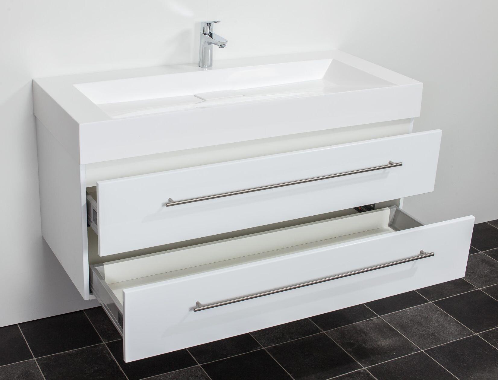 saniclear design wastafelmeubel 120cm 1 kraan hoogglans wit bs5077