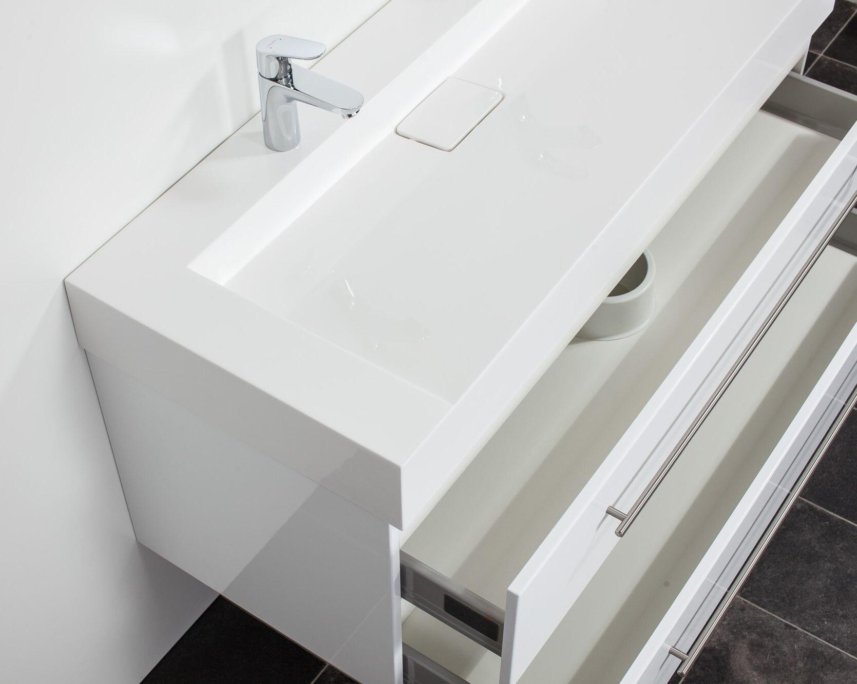 saniclear design wastafelmeubel 120cm 2 kranen hoogglans wit bs5084