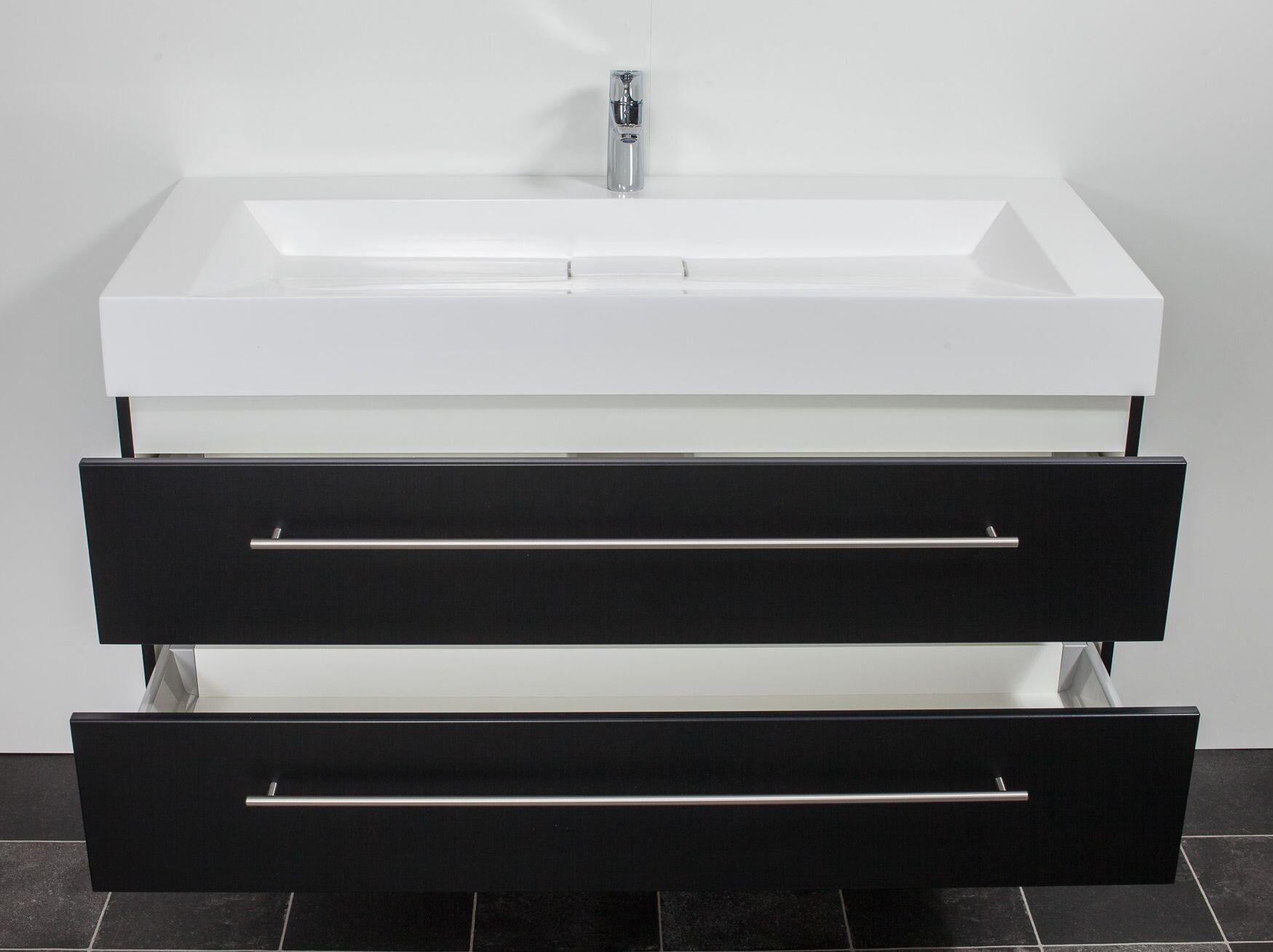 saniclear design wastafelmeubel 120cm 1 kraan zijdeglans zwart