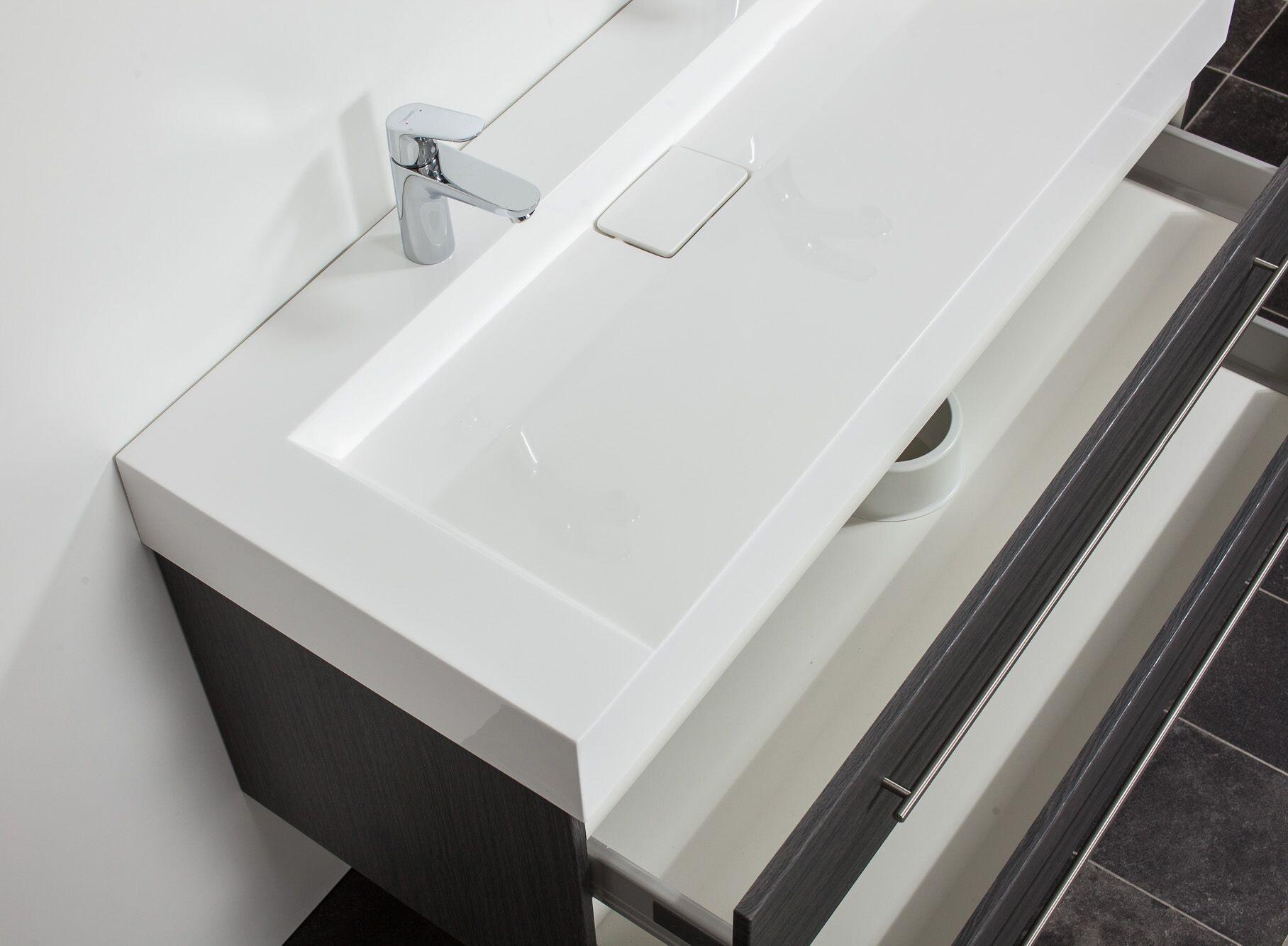saniclear design wastafelmeubel 120cm 2 kranen antraciet eiken