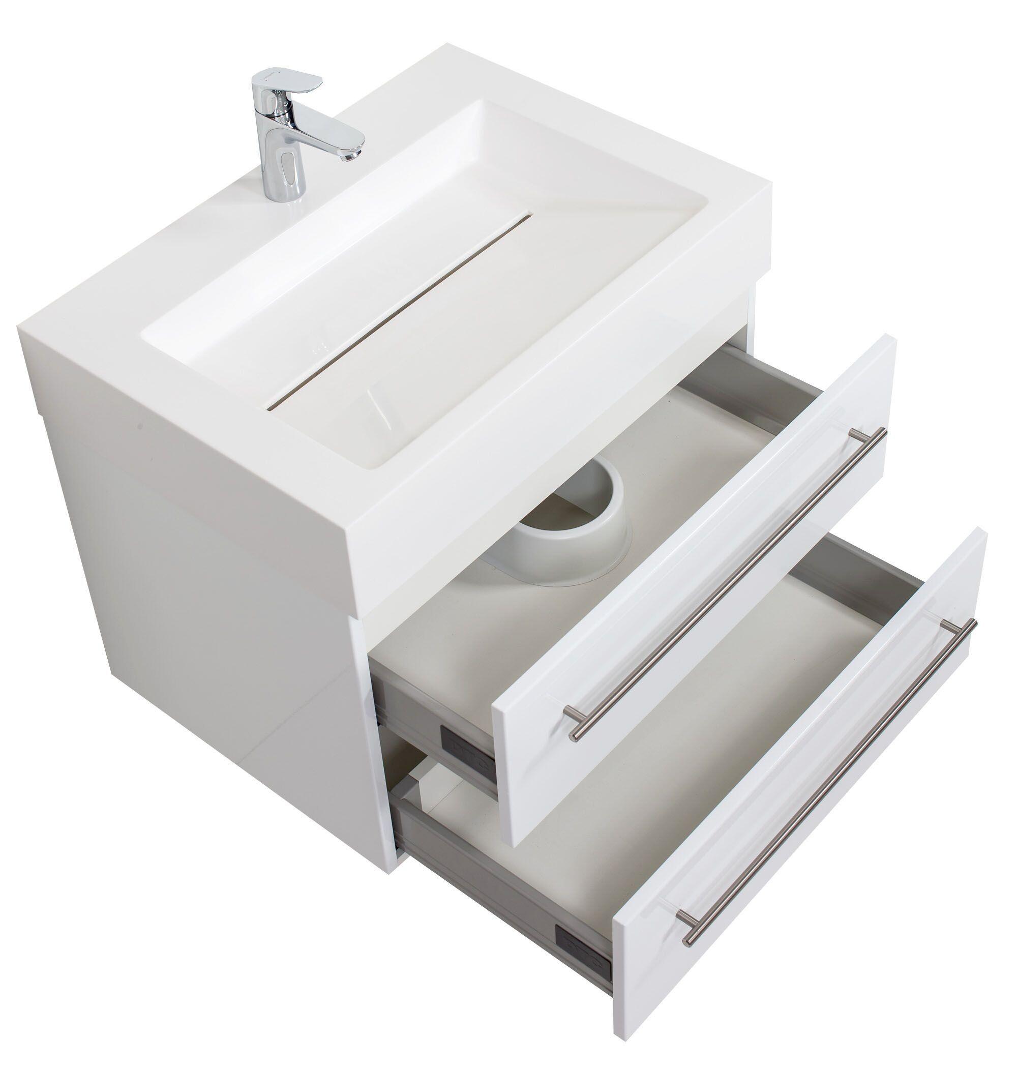 saniclear design wastafelmeubel 70cm hoogglans wit bs5064