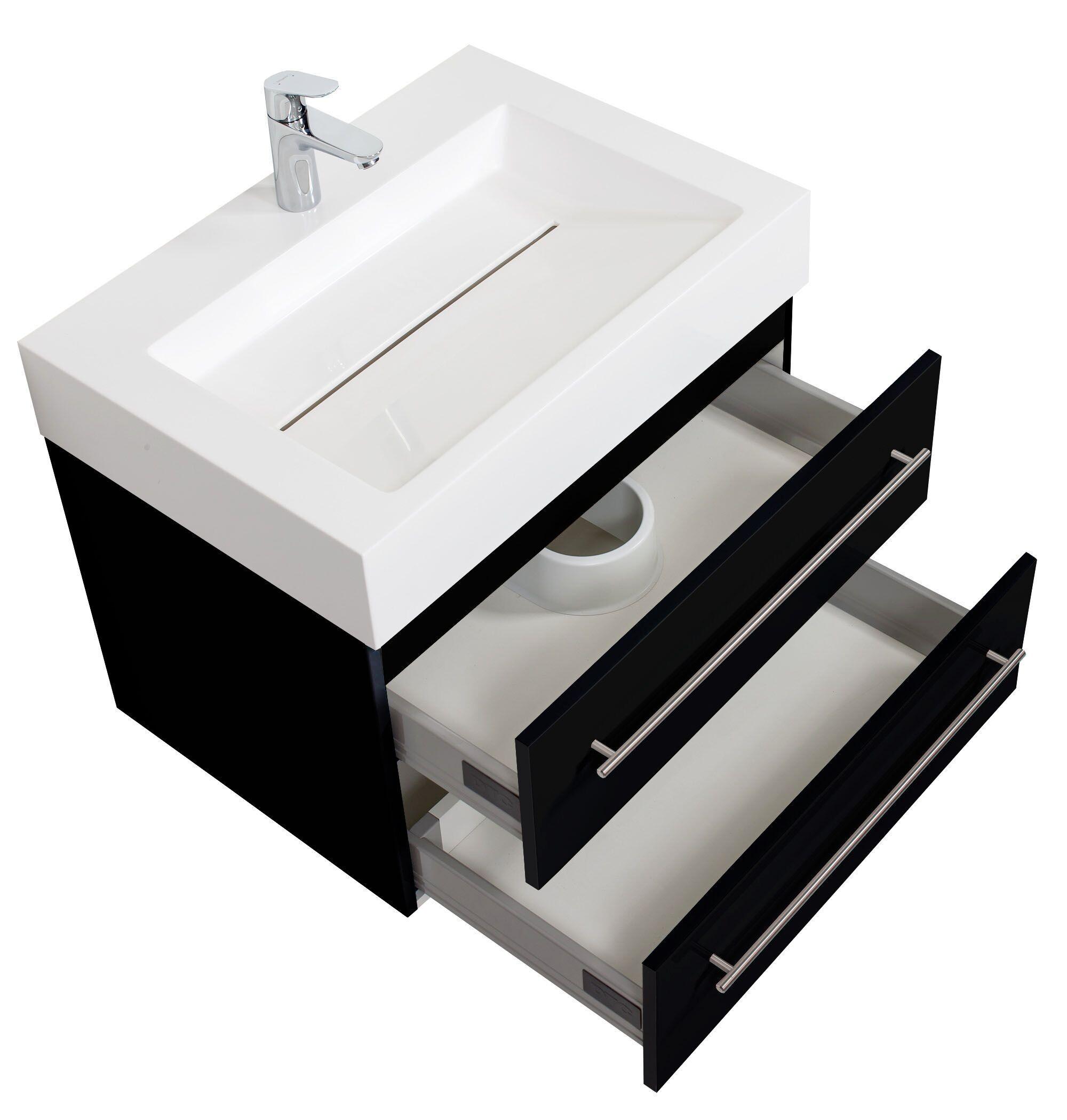 saniclear design wastafelmeubel 70cm zijdeglans zwart bs5065