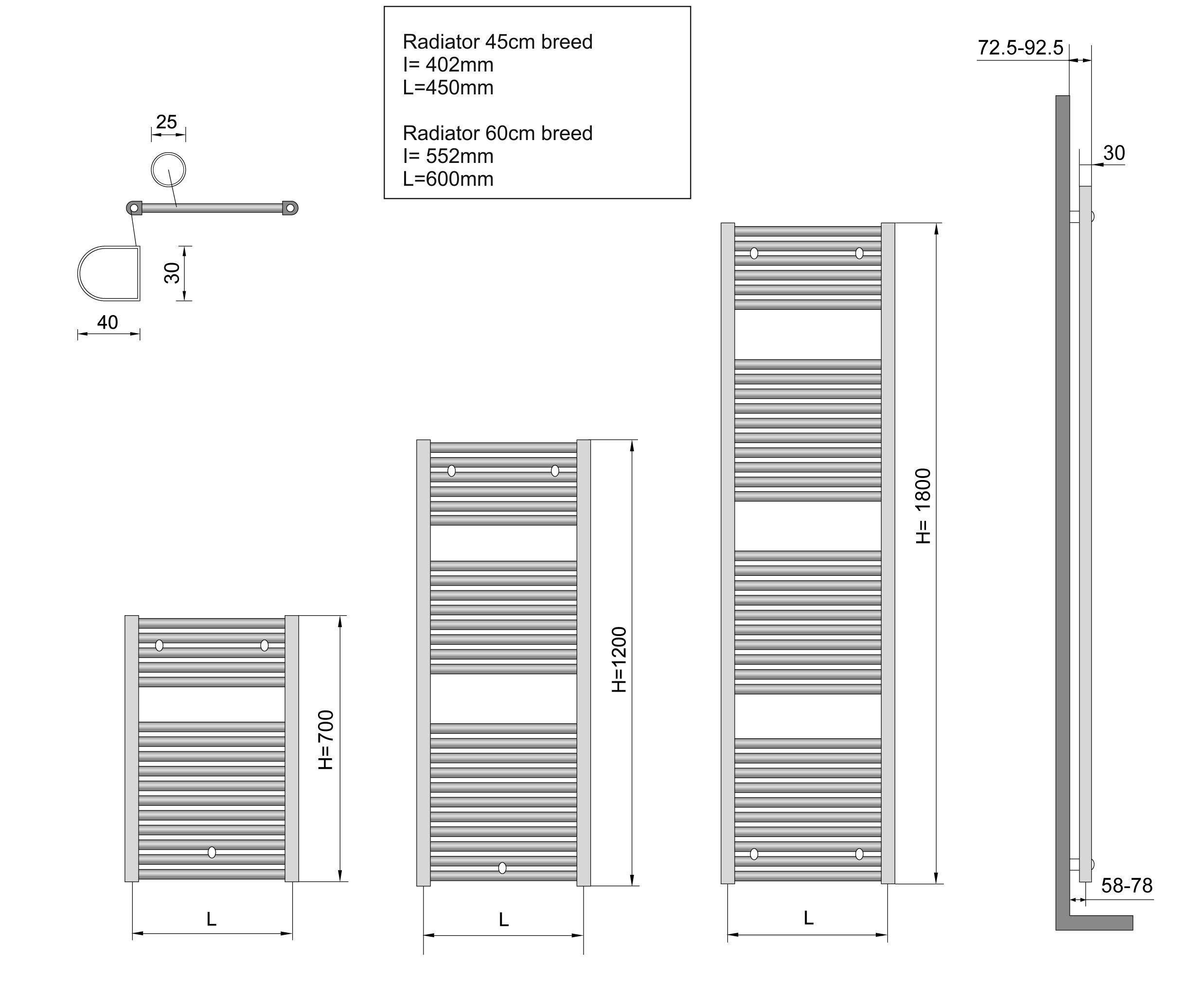 Wiesbaden elara handdoekradiator wit 1817x600 m o aansl - Italiaans douchegordijn ...