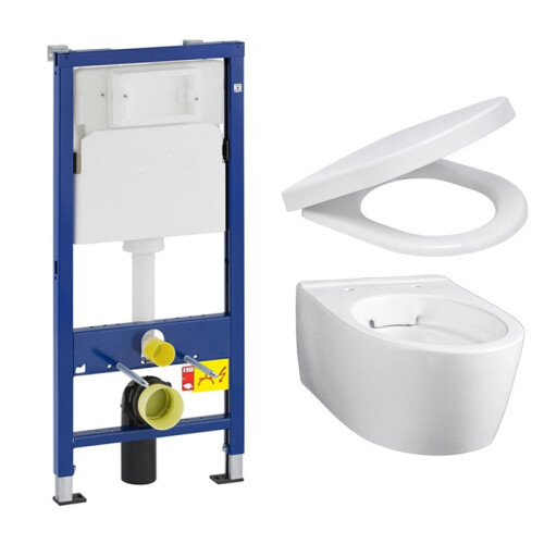 Geberit UP100 toiletset met Geberit iCon Rimfree Compact en softclose zitting