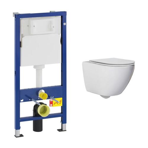 Geberit UP100 toiletset met Saniclear Jama Compact randloos toilet en softclose zitting