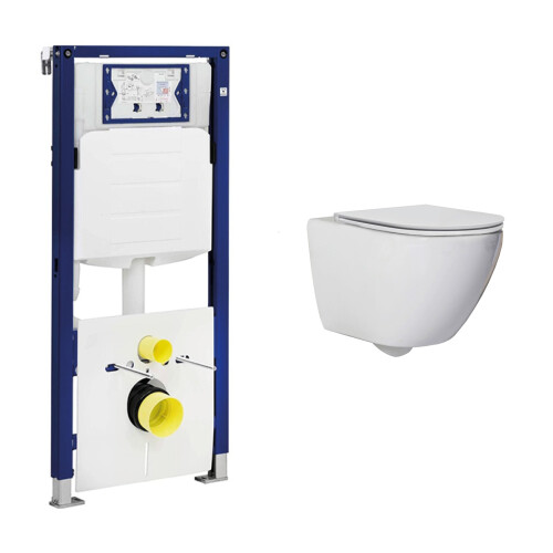 Geberit UP320 toiletset met Saniclear Jama Compact randloos toilet en softclose zitting