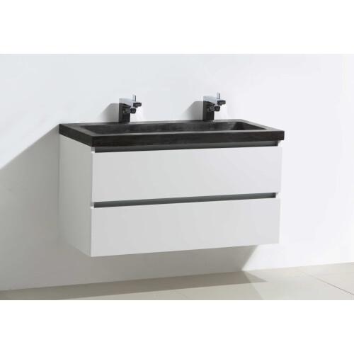 Lambini Designs Trend Stone badmeubel 100x47cm hoogglans wit met natuursteen 2 kraangaten