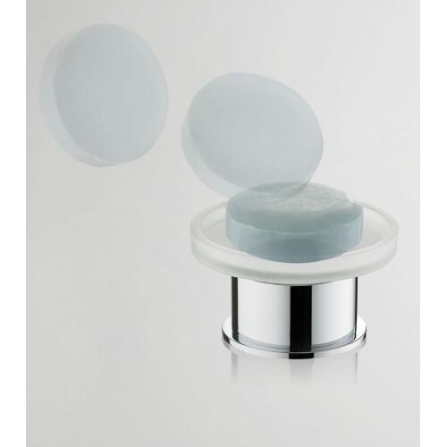 Mueller Round vrijstaande glazen zeepschaal chroom