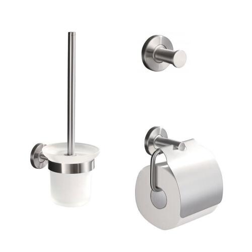Mueller Wes rvs toiletborstel - haak - toiletrolhouder accessoireset