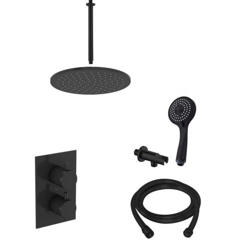 Saniclear Nero inbouw regendouche mat zwart met plafond arm 20cm hoofddouche en 3 standen handdouche