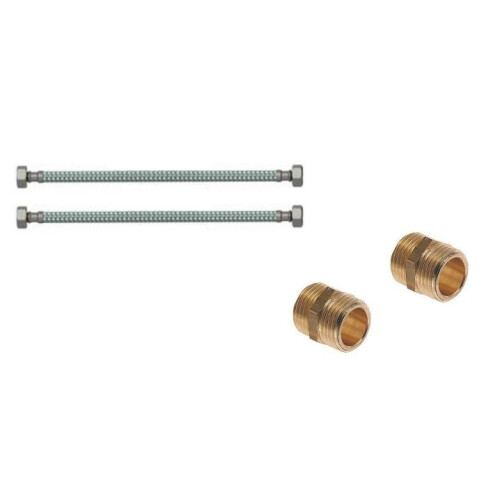 Plieger aansluitset 100cm 1/2'' x 1/2'' met aansluitslangen en nippels voor muurplaat