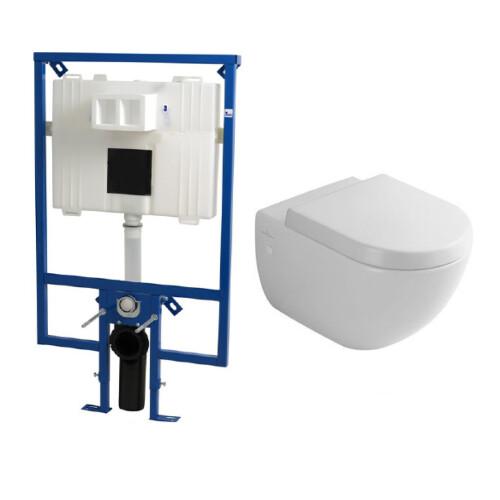 Plieger Flair Compact toiletset met Villeroy en Boch Subway wandcloset en softclose zitting