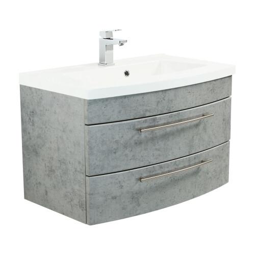 Saniclear Bella halfrond badmeubel 80cm beton grijs