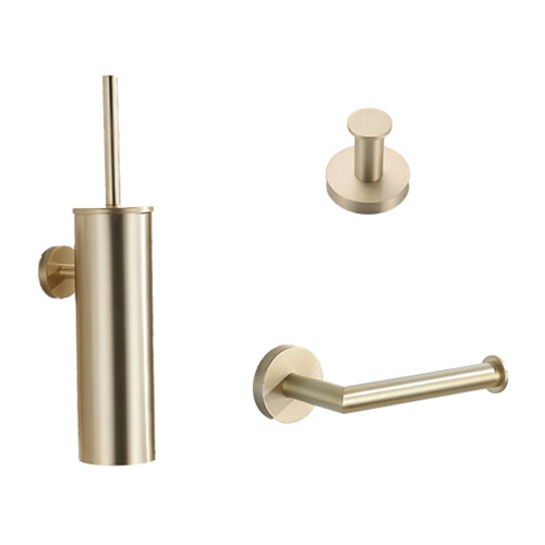 Saniclear Brass geborsteld messing / goud toilet accessoire set incl toiletborstel, rolhouder en haak