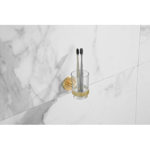 Saniclear Brass glashouder geborsteld messing mat goud