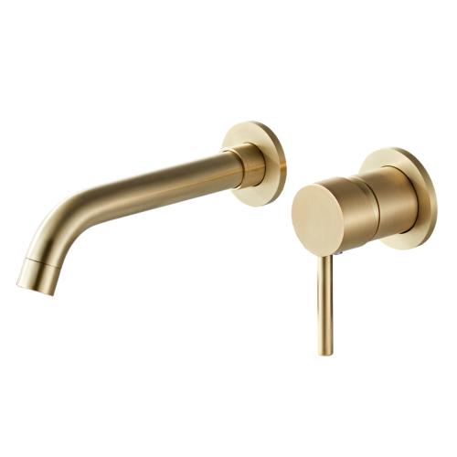 Saniclear Brass inbouw wastafelkraan geborsteld messing / mat goud