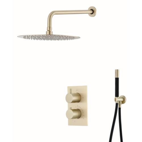 Saniclear Brass Pro inbouw regendouche met wandarm en 30cm hoofddouche geborsteld messing / mat goud