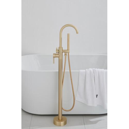 Saniclear Brass vrijstaande badkraan geborsteld messing mat goud