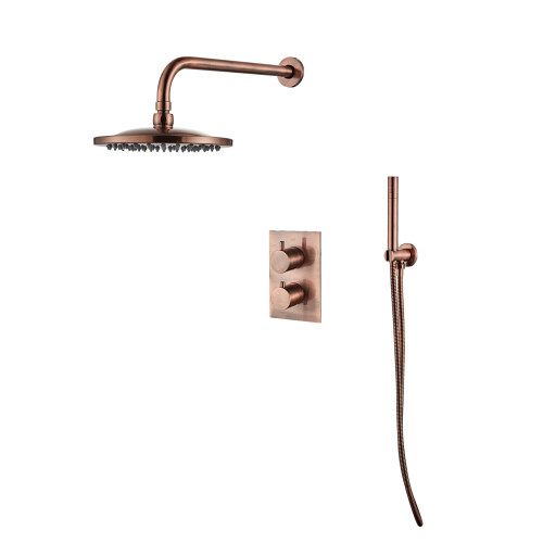Saniclear Copper inbouw regendouche met wandarm en 20cm hoofddouche geborsteld koper