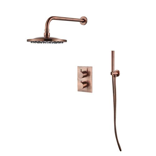 Saniclear Copper inbouw regendouche met plafondarm en 30cm hoofddouche geborsteld koper