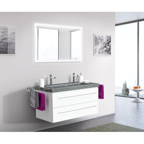 Saniclear Granite 100cm wit badkamermeubel met graniet bovenblad 2 kraangaten
