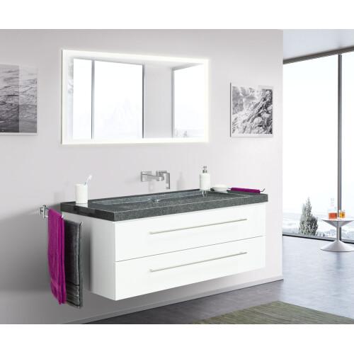 Saniclear Granite 130cm wit badkamermeubel met graniet bovenblad zonder kraangaten