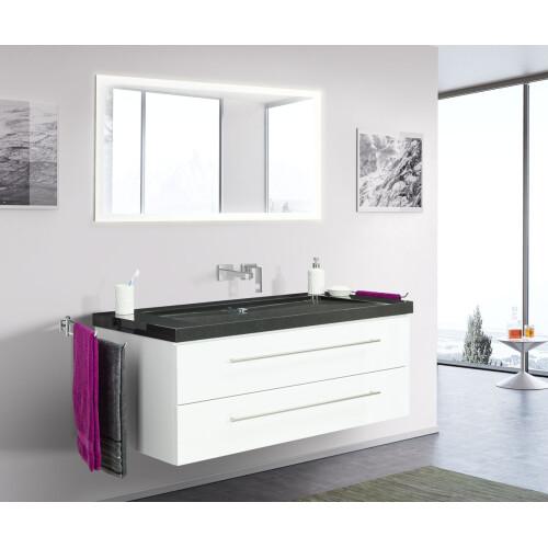 Saniclear Granite Black 130cm wit badkamermeubel met graniet bovenblad zonder kraangaten