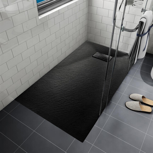 Saniclear Naxos SMC douchebak stone-look 90x90cm zwart mat
