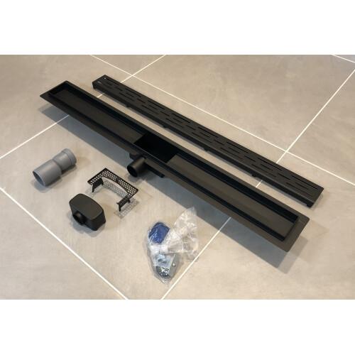 Saniclear Nero complete zwarte douchegoot 70cm met flens, RVS!