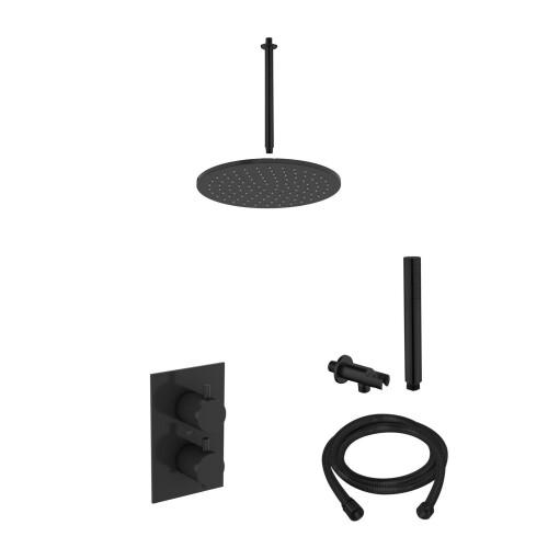 Saniclear Nero inbouw regendouche mat zwart met plafond arm 20cm hoofddouche