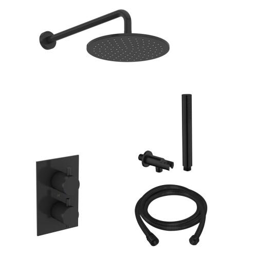 Saniclear Nero inbouw regendouche mat zwart met wandarm hoofddouche 20cm