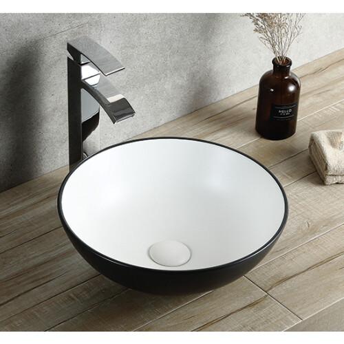 Saniclear Raja waskom 40cm wastafel rond wit met zwarte buitenkant