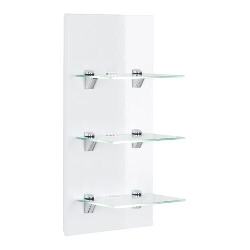 Saniclear Viva open kast met glazen planken en led verlichting 68cm wit