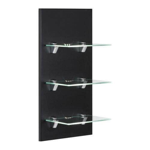 Saniclear Viva open kast met glazen planken en led verlichting 68cm zwart