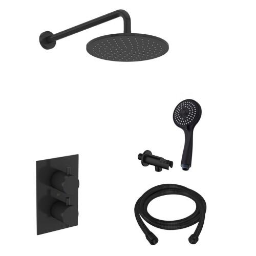 Saniclear Nero inbouw regendouche mat zwart met wandarm hoofddouche 20cm en 3 standen handdouche