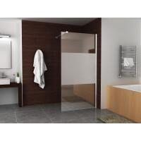 Mueller Satijn douchescherm met matglas band 100x200cm