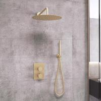 Saniclear Brass inbouw regendouche met wandarm en 30cm hoofddouche geborsteld messing / mat goud
