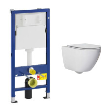 Geberit UP100 toiletset met Saniclear Jama Compact randloos toilet en softclose zitting