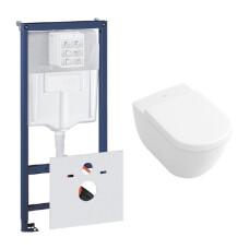Grohe Rapid toiletset met Villeroy en Boch Subway 2.0 Direct Flush wandcloset en zitting