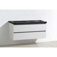Lambini Designs Trend Stone badmeubel 100x47cm hoogglans wit met natuursteen 0 kraangaten