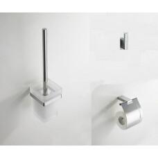 Mueller Cube toiletborstel - haak - toiletrolhouder verchroomd