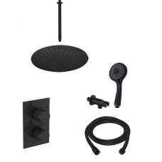 Saniclear Nero inbouw regendouche mat zwart met plafond arm 30cm hoofddouche en 3 standen handdouche