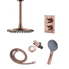 Saniclear Copper inbouw regendouche met plafondarm 20cm hoofddouche en 3 standen handdouche