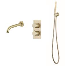 Saniclear Brass inbouw badkraan geborsteld messing / mat goud
