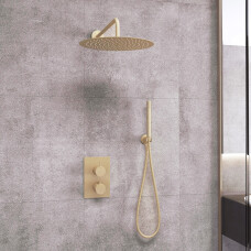 Saniclear Brass inbouw regendouche met wandarm en 20cm hoofddouche geborsteld messing / mat goud