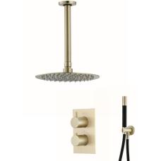 Saniclear Brass Pro inbouw regendouche met plafondarm en 20cm hoofddouche geborsteld messing / mat goud