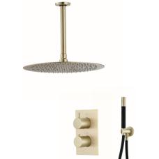Saniclear Brass Pro inbouw regendouche met plafondarm en 30cm hoofddouche geborsteld messing / mat goud