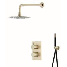 Saniclear Brass Pro inbouw regendouche met wandarm en 20cm hoofddouche geborsteld messing / mat goud